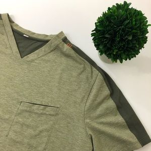 Lululemon Men's Green V Neck Shirt Size Large
